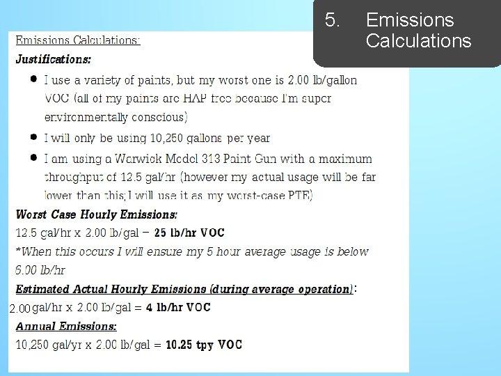 5. Emissions Calculations ; : 2. 00