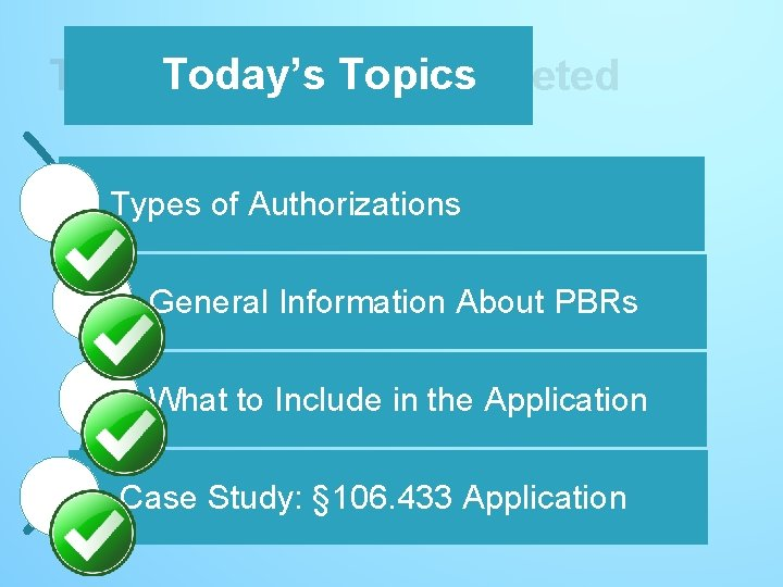 Today's Topics - completed Today's Topics Types of Authorizations General Information About PBRs What