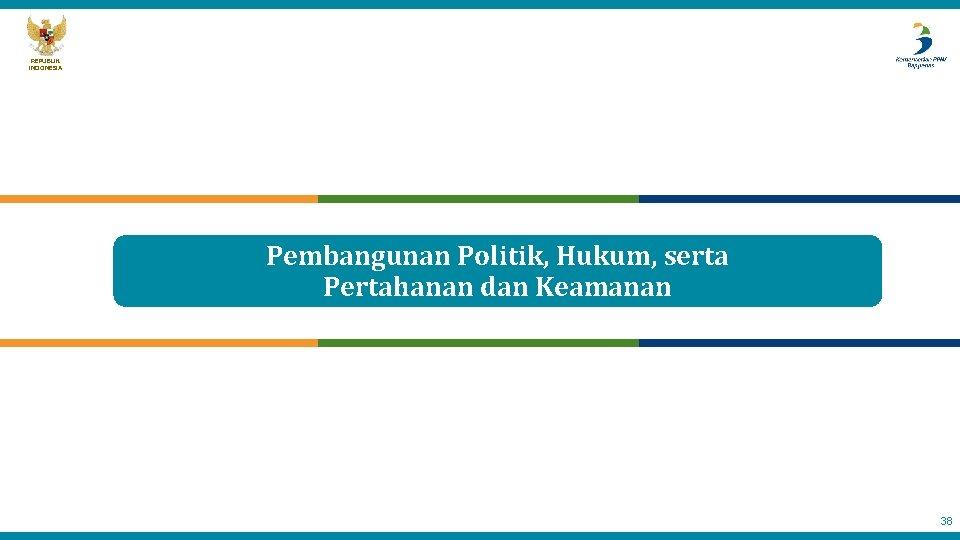 REPUBLIK INDONESIA Pembangunan Politik, Hukum, serta Pertahanan dan Keamanan 38