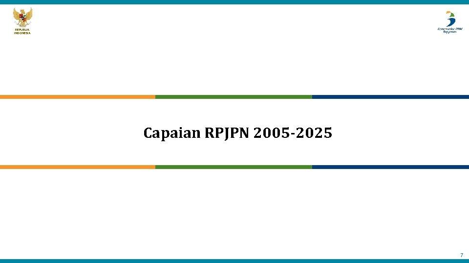 REPUBLIK INDONESIA Capaian RPJPN 2005 -2025 7