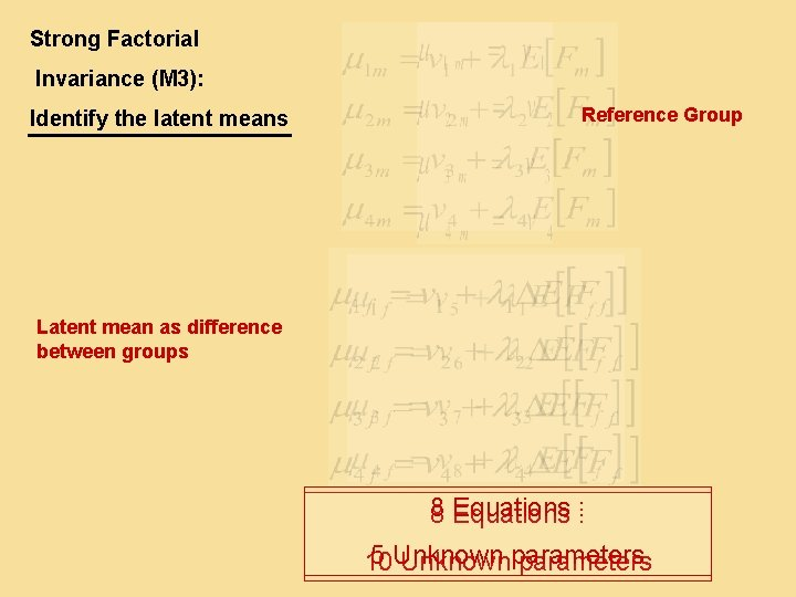 Strong Factorial Invariance (M 3): Identify the latent means Reference Group Latent mean as