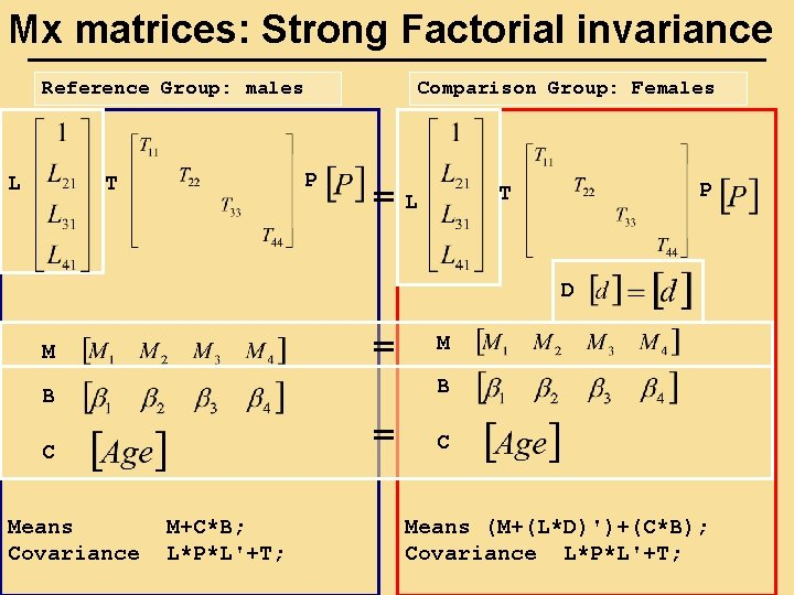 Mx matrices: Strong Factorial invariance Reference Group: males L Comparison Group: Females P T