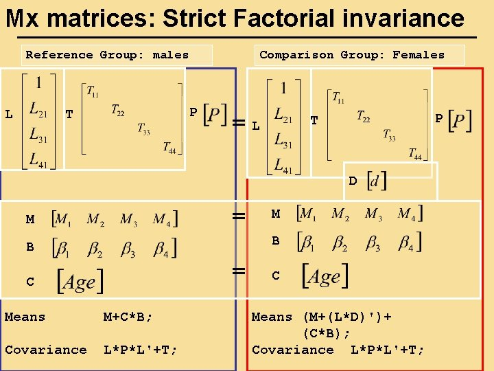 Mx matrices: Strict Factorial invariance Reference Group: males L Comparison Group: Females P T