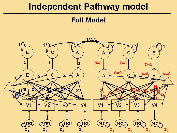 Independent Pathway model Full Model 1 1 E C 1 0 C 0 A