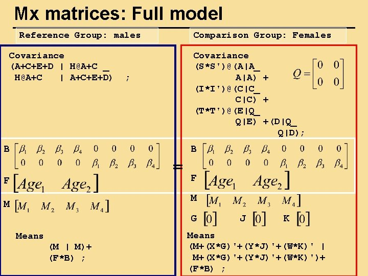 Mx matrices: Full model Reference Group: males Covariance (A+C+E+D | H@A+C _ H@A+C |