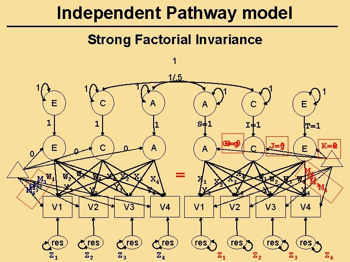 Independent Pathway model Strong Factorial Invariance 1 1 E C 1 0 C 0