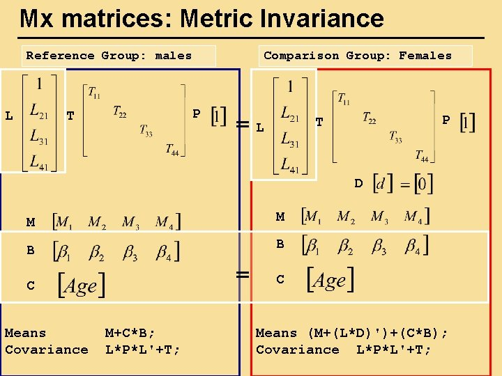 Mx matrices: Metric Invariance Reference Group: males L Comparison Group: Females P T =L
