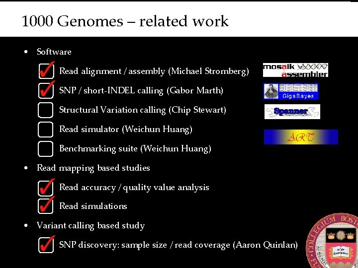1000 Genomes – related work • Software Read alignment / assembly (Michael Stromberg) SNP