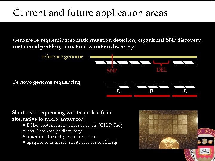 Current and future application areas Genome re-sequencing: somatic mutation detection, organismal SNP discovery, mutational