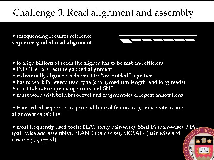 Challenge 3. Read alignment and assembly • resequencing requires reference sequence-guided read alignment •