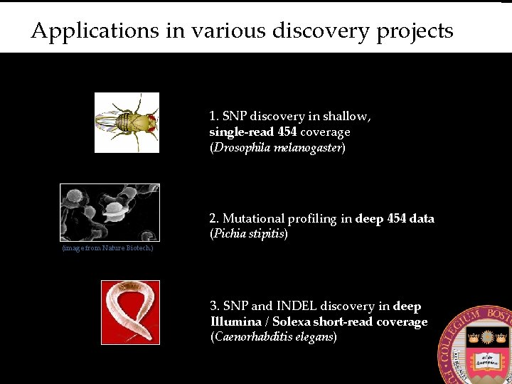 Applications in various discovery projects 1. SNP discovery in shallow, single-read 454 coverage (Drosophila