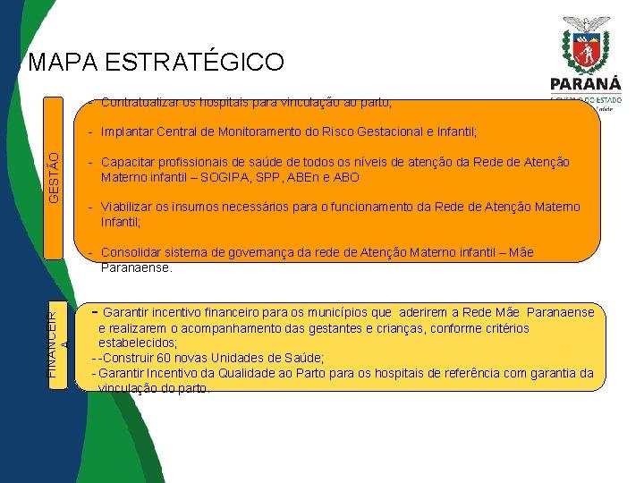 MAPA ESTRATÉGICO - Contratualizar os hospitais para vinculação ao parto; GESTÃO - Implantar Central