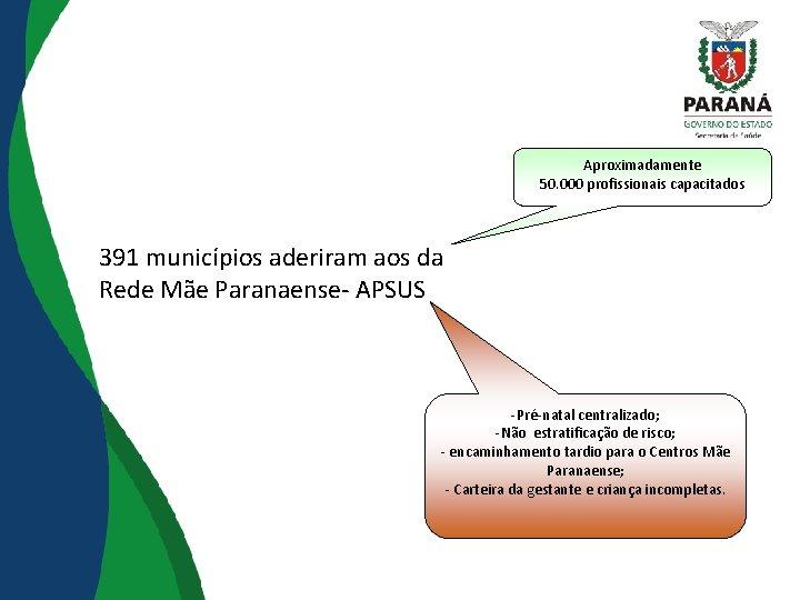 Aproximadamente 50. 000 profissionais capacitados 391 municípios aderiram aos da Rede Mãe Paranaense- APSUS