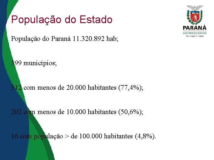 População do Estado População do Paraná 11. 320. 892 hab; 399 municípios; 312 com
