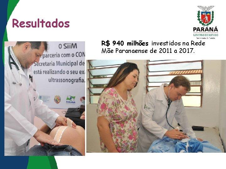 Resultados R$ 940 milhões investidos na Rede Mãe Paranaense de 2011 a 2017.