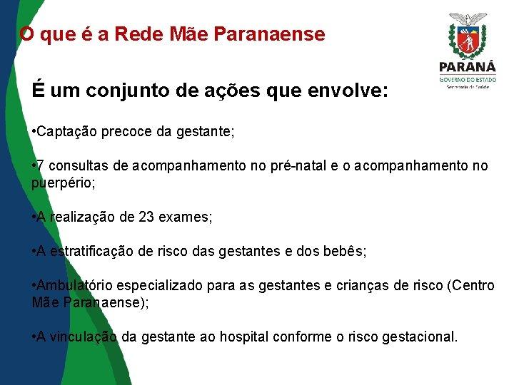 O que é a Rede Mãe Paranaense É um conjunto de ações que envolve:
