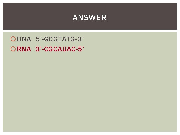 ANSWER DNA 5'-GCGTATG-3' RNA 3'-CGCAUAC-5'