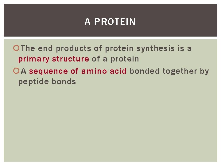A PROTEIN The end products of protein synthesis is a primary structure of a