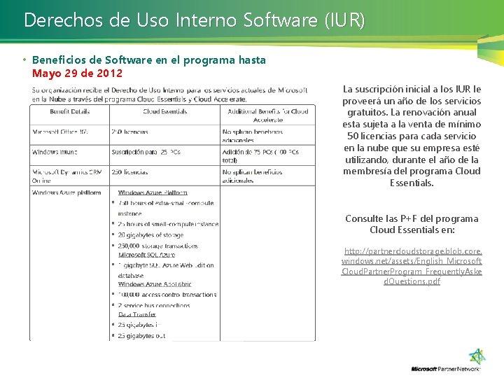 Derechos de Uso Interno Software (IUR) • Beneficios de Software en el programa hasta