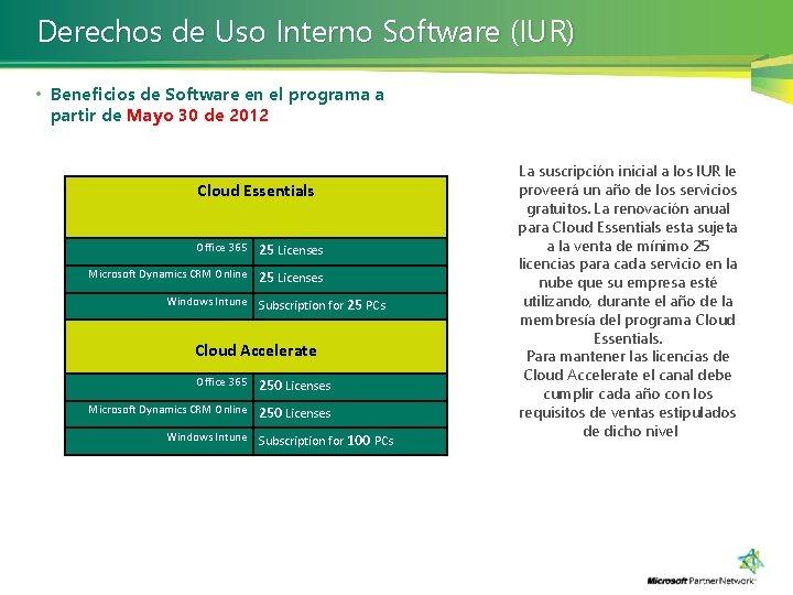 Derechos de Uso Interno Software (IUR) • Beneficios de Software en el programa a