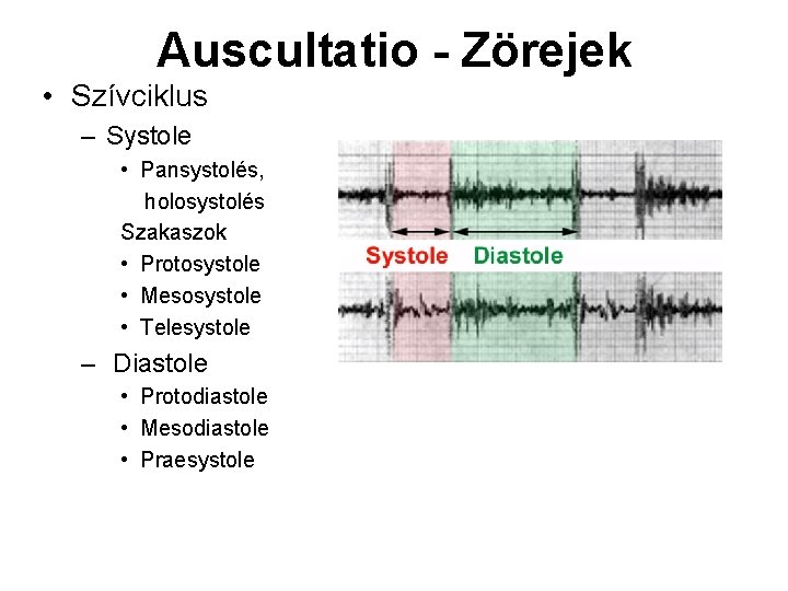 Auscultatio - Zörejek • Szívciklus – Systole • Pansystolés, holosystolés Szakaszok • Protosystole •