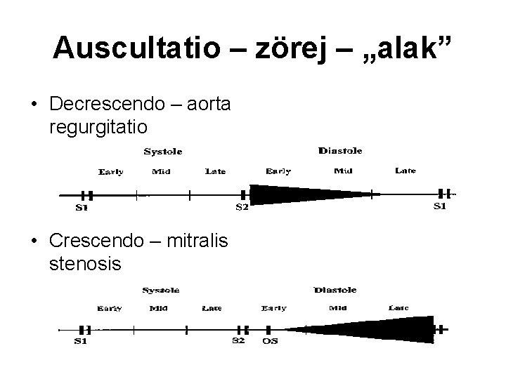 """Auscultatio – zörej – """"alak"""" • Decrescendo – aorta regurgitatio • Crescendo – mitralis"""