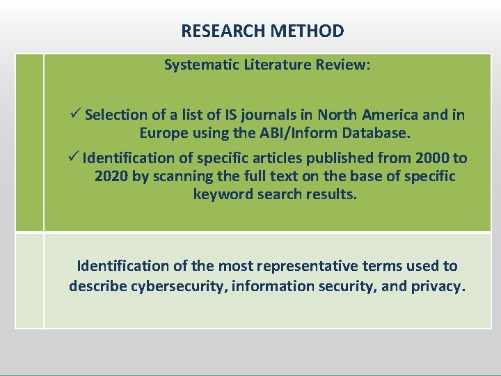 RESEARCH METHOD Systematic Literature Review: ü Selection of a list of IS journals in