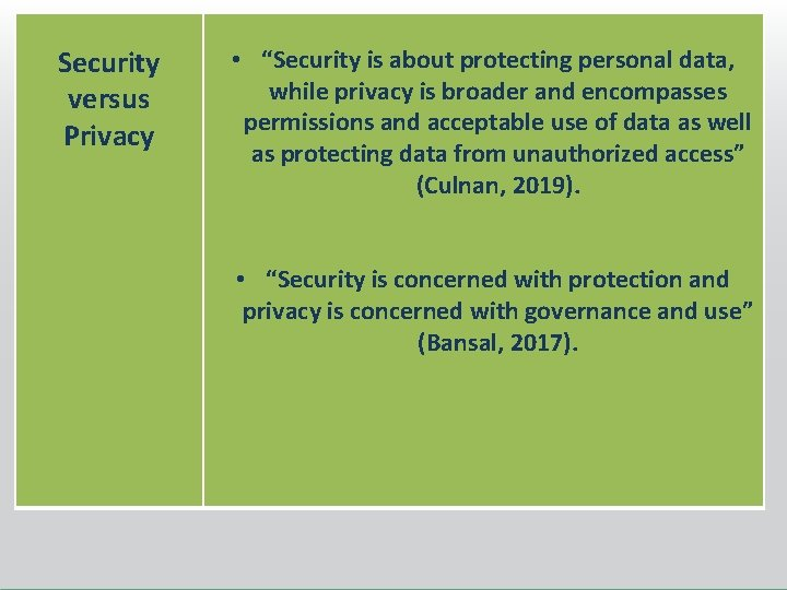 """Security versus Privacy • """"Security is about protecting personal data, while privacy is broader"""