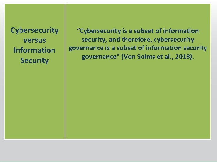 """Cybersecurity versus Information Security """"Cybersecurity is a subset of information security, and therefore, cybersecurity"""