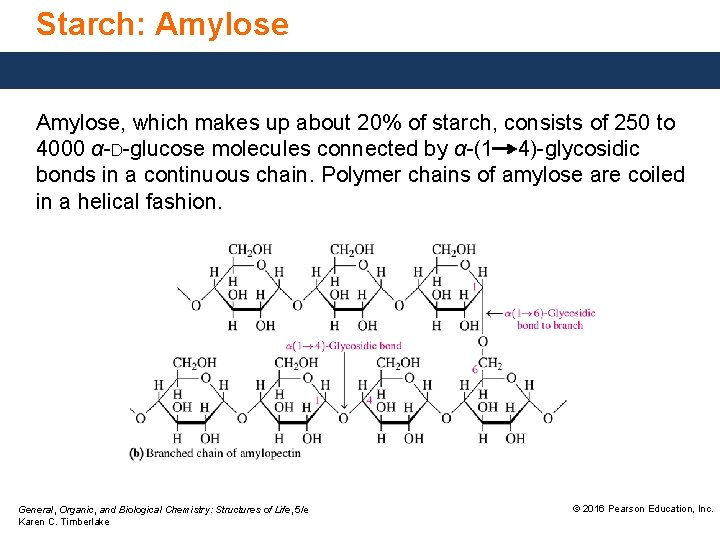 Starch: Amylose, which makes up about 20% of starch, consists of 250 to 4000