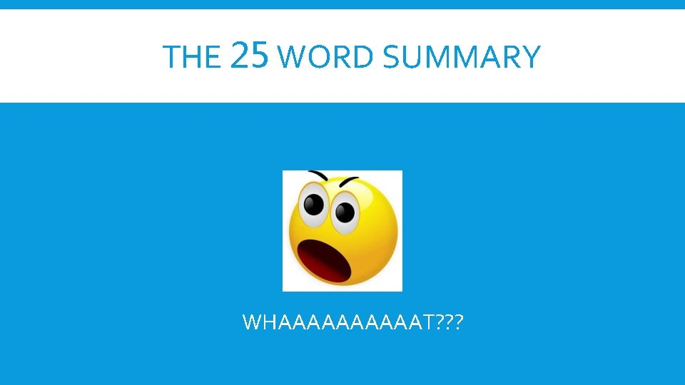 THE 25 WORD SUMMARY WHAAAAAT? ? ?
