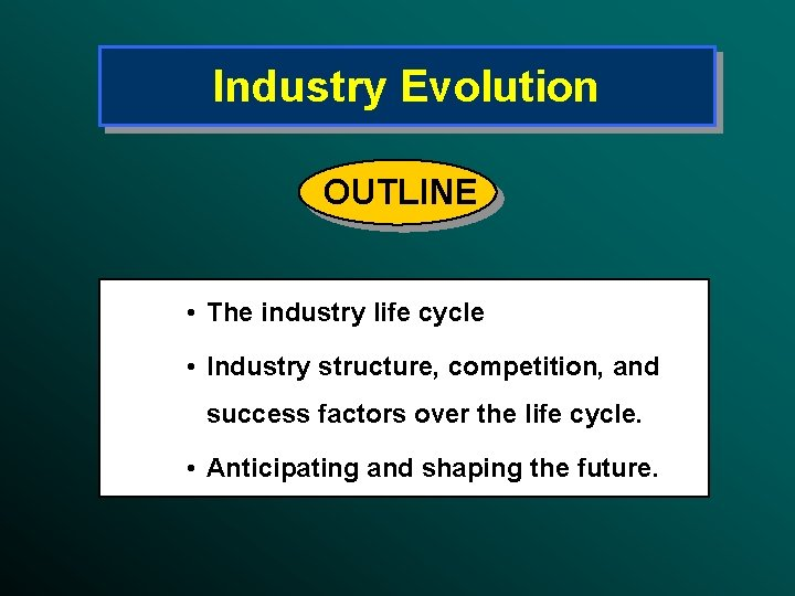 Industry Evolution OUTLINE • The industry life cycle • Industry structure, competition, and success