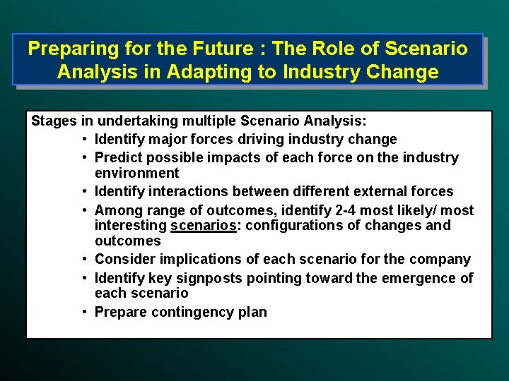 Preparing for the Future : The Role of Scenario Analysis in Adapting to Industry