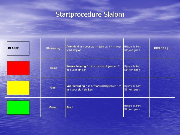 Startprocedure Slalom