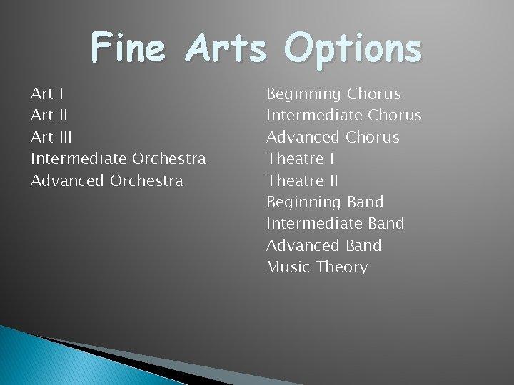 Fine Arts Options Art III Intermediate Orchestra Advanced Orchestra Beginning Chorus Intermediate Chorus Advanced