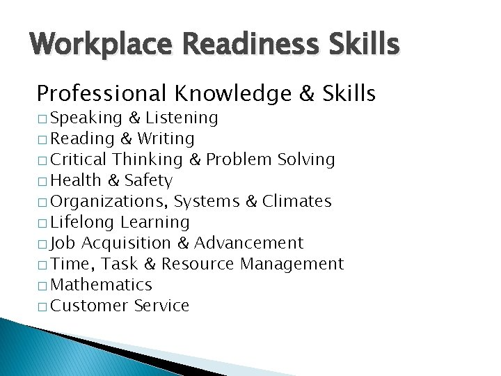 Workplace Readiness Skills Professional Knowledge & Skills � Speaking & Listening � Reading &