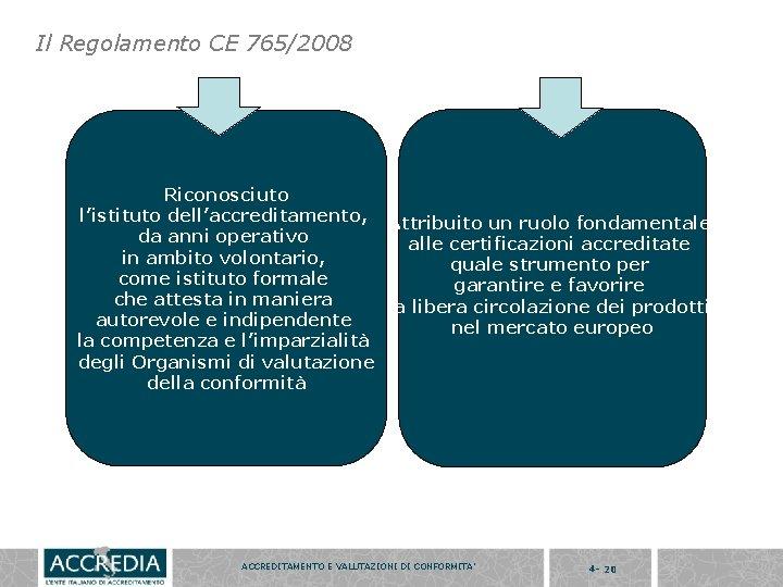 Il Regolamento CE 765/2008 Riconosciuto l'istituto dell'accreditamento, Attribuito un ruolo fondamentale da anni operativo