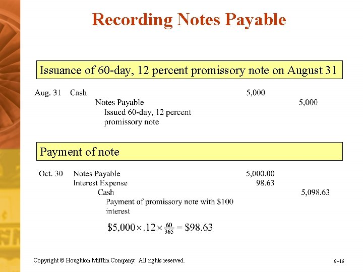 Recording Notes Payable Issuance of 60 -day, 12 percent promissory note on August 31