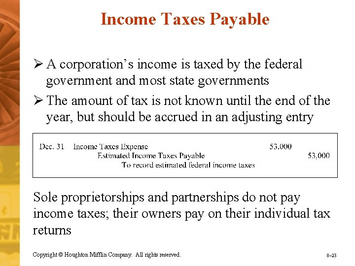 Income Taxes Payable Ø A corporation's income is taxed by the federal government and