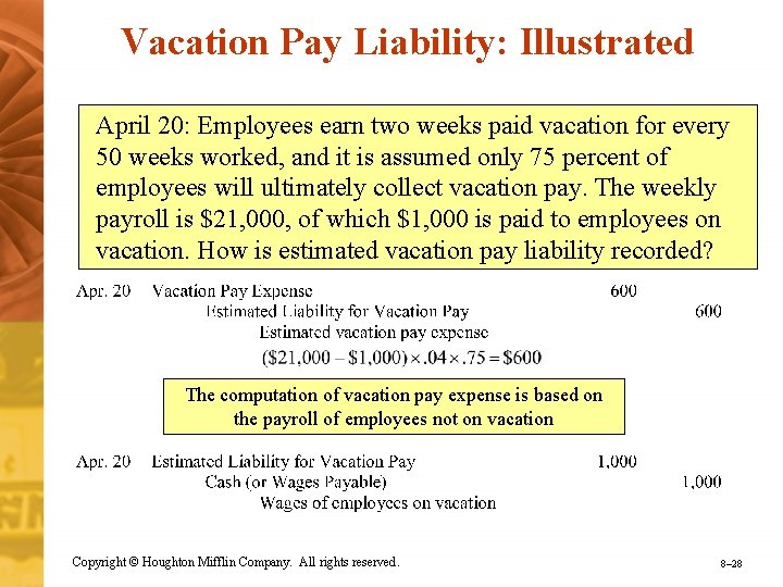 Vacation Pay Liability: Illustrated April 20: Employees earn two weeks paid vacation for every