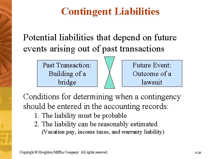 Contingent Liabilities Potential liabilities that depend on future events arising out of past transactions