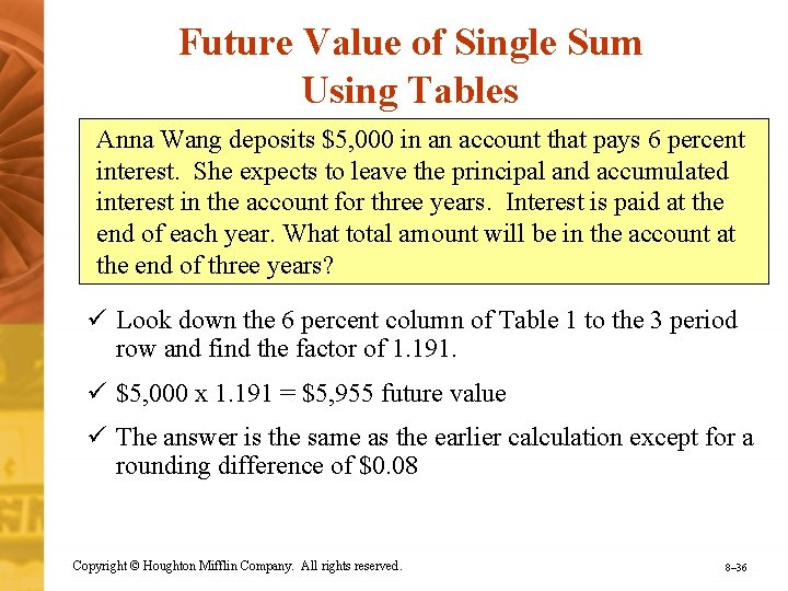 Future Value of Single Sum Using Tables Anna Wang deposits $5, 000 in an