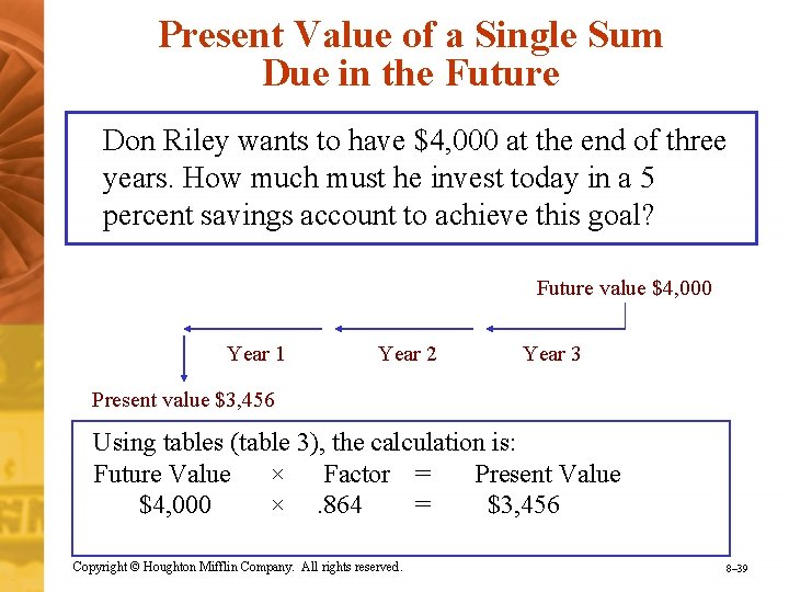 Present Value of a Single Sum Due in the Future Don Riley wants to