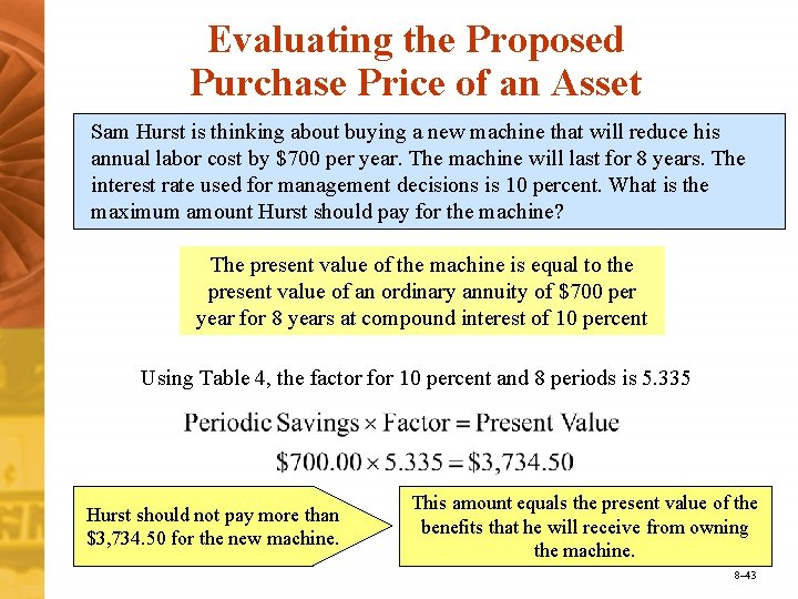 Evaluating the Proposed Purchase Price of an Asset Sam Hurst is thinking about buying