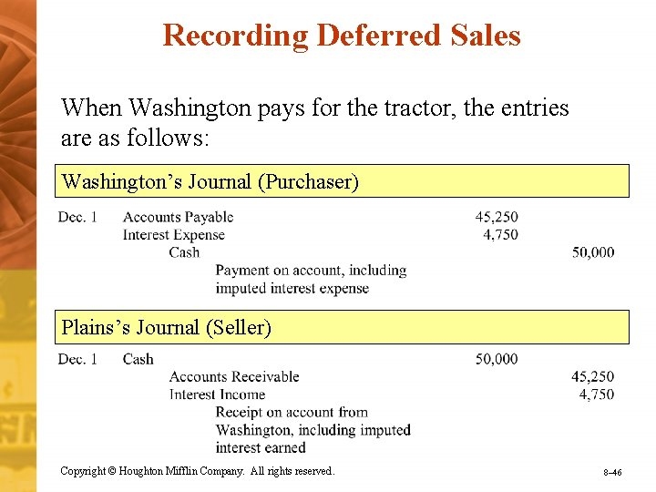 Recording Deferred Sales When Washington pays for the tractor, the entries are as follows: