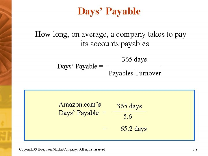 Days' Payable How long, on average, a company takes to pay its accounts payables