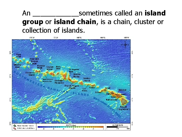 An ______sometimes called an island group or island chain, is a chain, cluster or