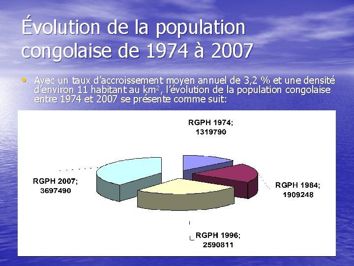Évolution de la population congolaise de 1974 à 2007 • Avec un taux d'accroissement