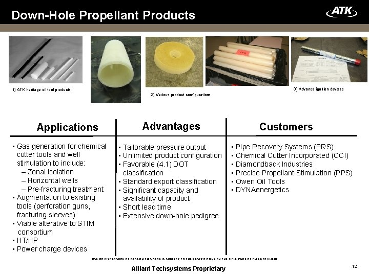 Down-Hole Propellant Products 3) Advance ignition devises 1) ATK heritage oil tool products 2)