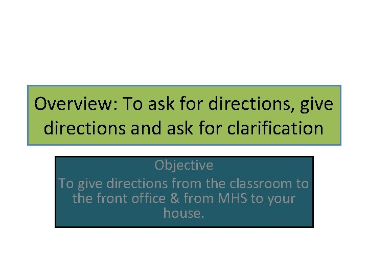 Overview: To ask for directions, give directions and ask for clarification Objective To give